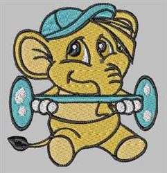 Elephant Weight Training embroidery design