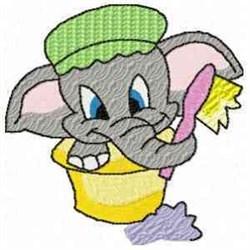 Elephant Bathing embroidery design