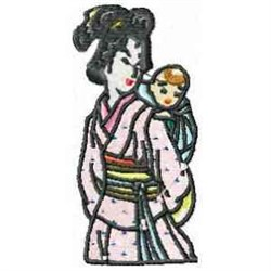 Geisha And Baby embroidery design