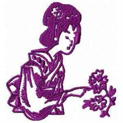 Geisha And Plant embroidery design