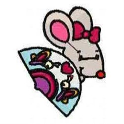 Mouse And Fan embroidery design