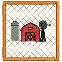 Barn Coaster embroidery design