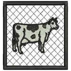 Cow Coaster embroidery design