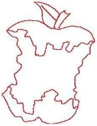 Bitten Apple Outline embroidery design