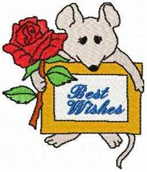 Mouse Best Wishes embroidery design