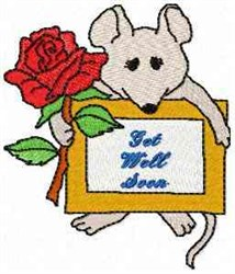 Mouse Get Well Soon embroidery design