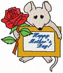 Mouse Happy Mothers Day embroidery design