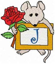Mouse Note J embroidery design