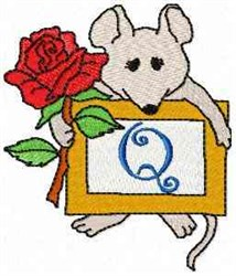 Mouse Note Q embroidery design