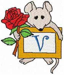Mouse Note V embroidery design