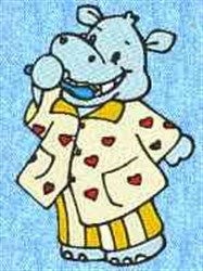 Hippo In Pajamas embroidery design