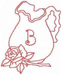 Rose Pitcher Letter B embroidery design