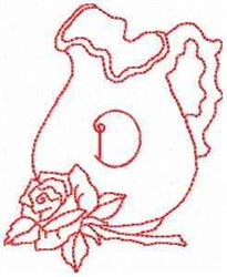 Rose Pitcher Letter D embroidery design