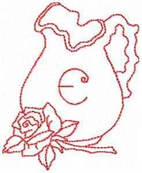 Rose Pitcher Letter E embroidery design