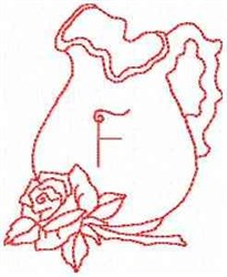 Rose Pitcher Letter F embroidery design