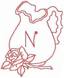Rose Pitcher Letter N embroidery design
