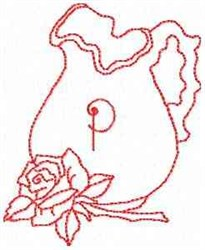 Rose Pitcher Letter P embroidery design