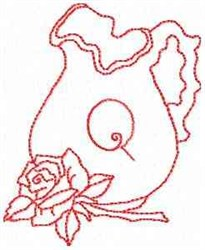 Rose Pitcher Letter Q embroidery design