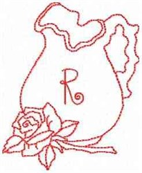 Rose Pitcher Letter R embroidery design