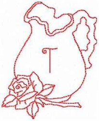 Rose Pitcher Letter T embroidery design