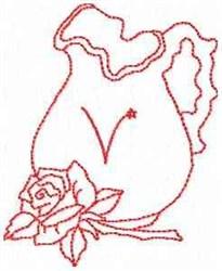 Rose Pitcher Letter V embroidery design