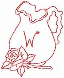 Rose Pitcher Letter W embroidery design