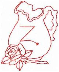 Rose Pitcher Letter Z embroidery design