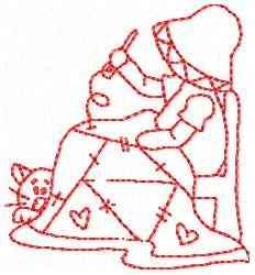Redbonnet Girl Sewing embroidery design