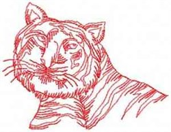 Redwork Tiger Head embroidery design