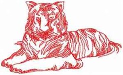 Redwork Tiger embroidery design