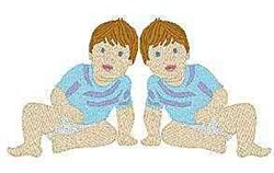 Twin Boys embroidery design