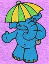 Elephant In Umbrella embroidery design
