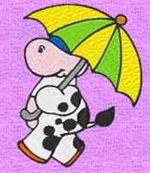 Cow In Umbrella embroidery design