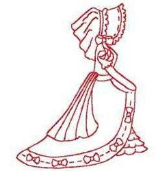 Redwork Victorian Woman embroidery design