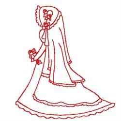 Redwork Victorian Bride embroidery design