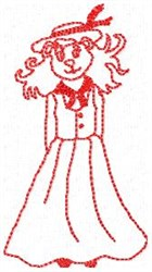 Country Lass Redwork embroidery design
