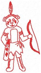 Indian Bear Redwork embroidery design