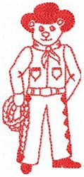 Rope Cowboy Redwork embroidery design