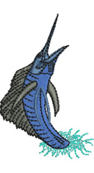 Leaping Sailfish embroidery design