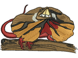 Frilled Neck Lizard embroidery design