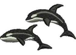 Leaping Orcas embroidery design