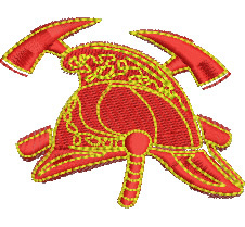 Firefighter Helmet & Axes embroidery design