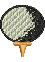 Golfball and Tee embroidery design