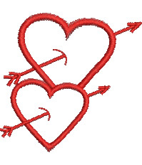 Dual Valentines Heart embroidery design