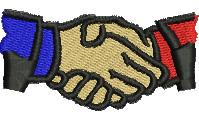 Handshake embroidery design