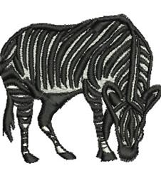 Grazing Zebra embroidery design