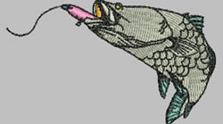 Fighting Barramundi embroidery design