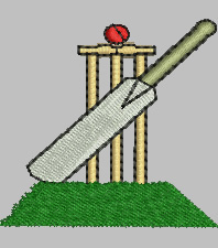 Cricket Bat and Wickets embroidery design