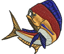 Dolphin Fish embroidery design