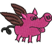 Flying Pig embroidery design